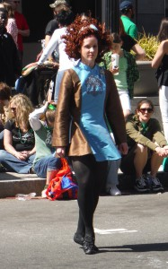Poet Alice Osborn performs Irish dance at the St. Patrick's Day parade in Raleigh, NC (Mar. 2014)