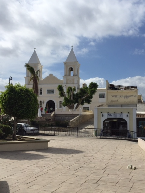 This elegant white church stands out amongst breeze-blown palm trees.