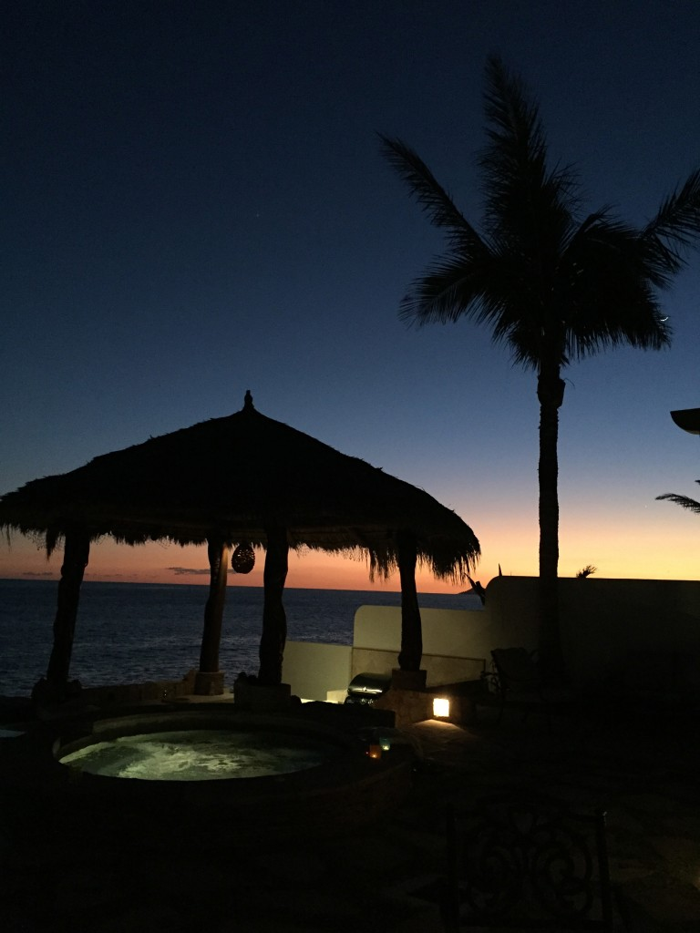 The view of the jacuzzi and __________ at sunset on Christmas Eve Eve during our stay.