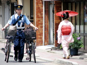 Gion, geisha district, police, Kyoto