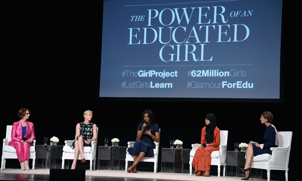 Glamour's editor-in-chief led a panel discussion with Julia Gillard, Charlize Theron, Michelle Obama and Nurfahada. Photograph: Dimitrios Kambouris/Getty