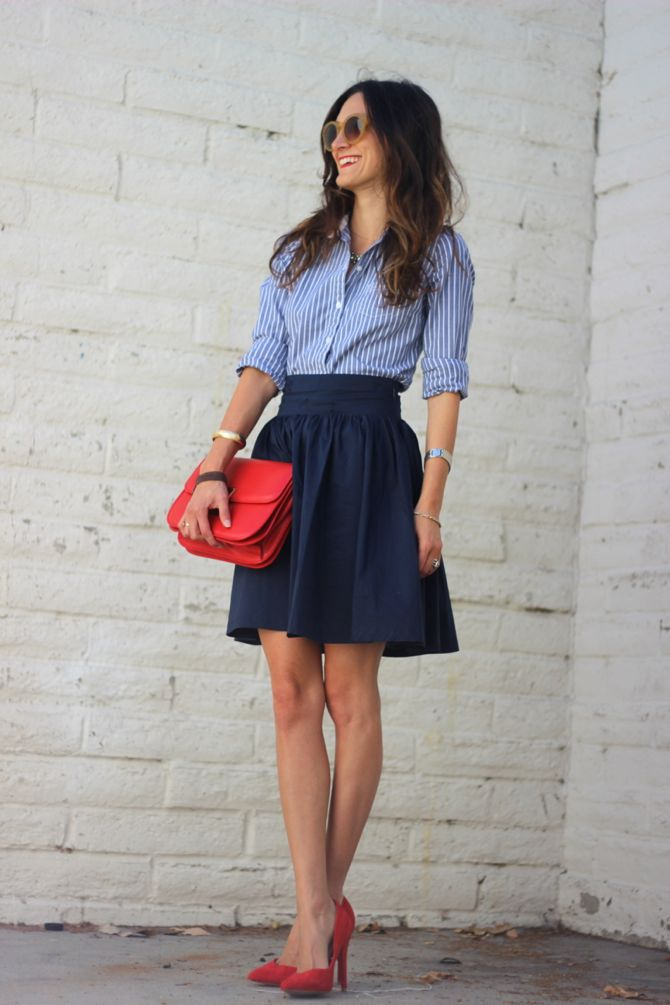 style button down navy skirt red heels