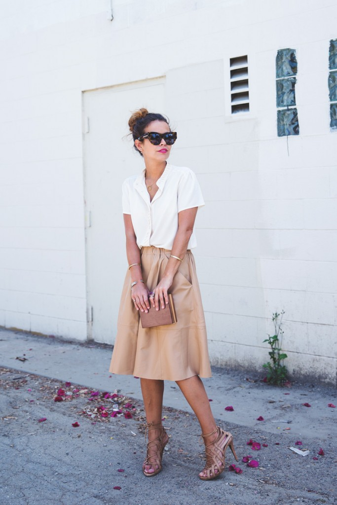 style button down pink skirt