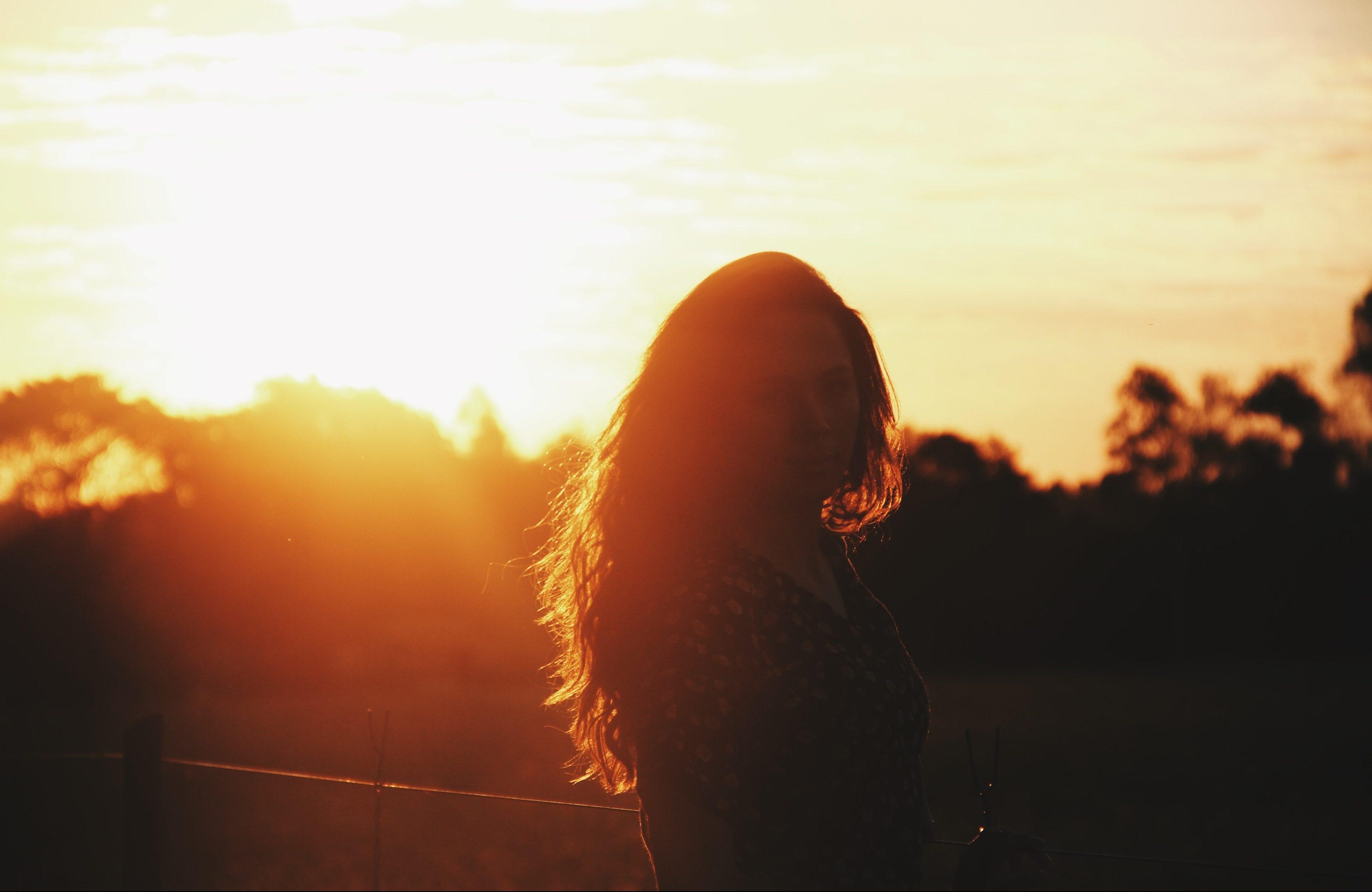 sunset girl woman