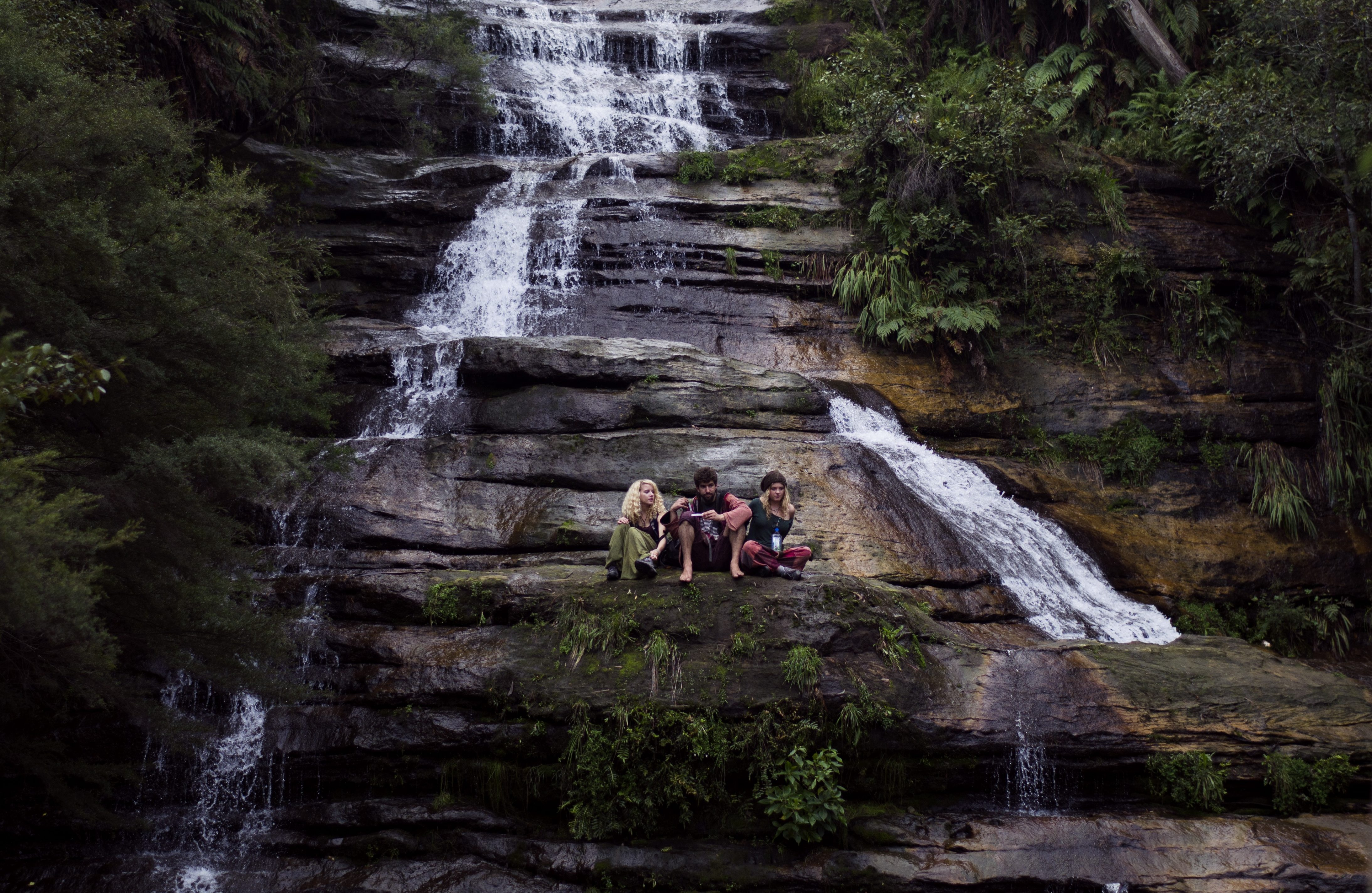 camping people waterfall nature hiking friends challenge